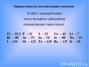Первые попытки систематизации элементов В 1829 г немецкий химик Иоган Вольфганг