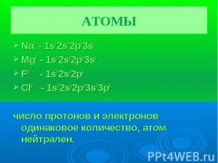АТОМЫ Na0 - 1s22s22p63s1Mg0 - 1s22s22p63s2F0 - 1s22s22p5 Cl0 - 1s22s22p63s23p5чи