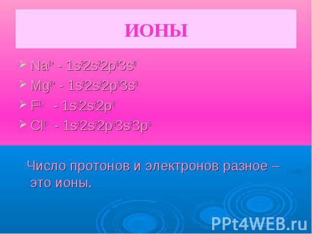 ИОНЫ Na1+ - 1s22s22p63s0Mg2+ - 1s22s22p63s0F1- - 1s22s22p6 Cl1- - 1s22s22p63s23p6 Число протонов и электронов разное – это ионы.