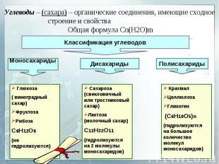 Углеводы – (сахара) – органические соединения, имеющие сходное строение и свойст
