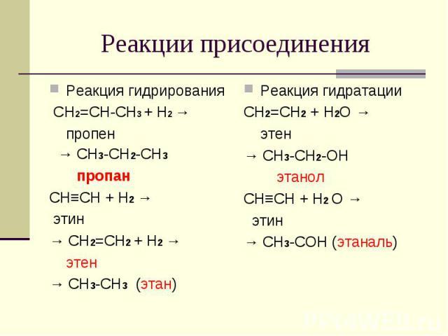 Реакции присоединения Реакция гидрирования СH2=CH-CH3 + H2 → пропен → CH3-CH2-CH3 пропанCH≡CH + H2 → этин→ CH2=CH2 + H2 → этен→ CH3-CH3 (этан)Реакция гидратацииCH2=CH2 + H2O → этен→ CH3-CH2-OH этанолCH≡CH + H2 O → этин→ CH3-COH (этаналь)