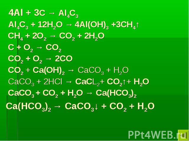 4Al + 3С → Al4С3 Al4С3 + 12H2O → 4Al(OH)3 +3CH4↑ CH4 + 2O2 → CO2 + 2H2O C + O2 → CO2 CO2 + O2 → 2CO СО2 + Са(ОН)2 → СаСО3 + Н2О СаСО3 + 2НCl → СаСL2+ СО2↑+ Н2О СаСО3 + СО2 + Н2О → Са(НСО3)2 Са(НСО3)2 → СаСО3↓ + СО2 + Н2О