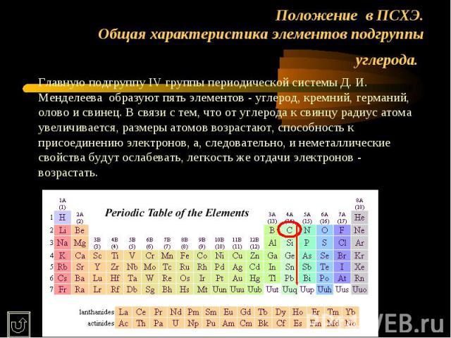 Положение в ПСХЭ.Общая характеристика элементов подгруппы углерода. Главную подгруппу IV группы периодической системы Д. И. Менделеева образуют пять элементов - углерод, кремний, германий, олово и свинец. В связи с тем, что от углерода к свинцу ради…