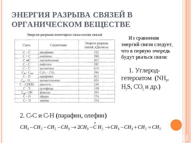 Энергия разрыва связей в органическом веществе Из сравнения энергий связи следует, что в первую очередь будут рваться связи:1. Углерод-гетероатом (NH3, H2S, CO2 и др.)2. С-С и С-H (парафин, олефин)