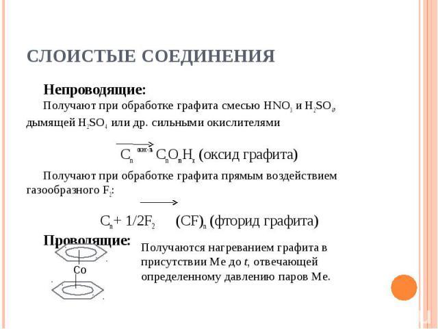 Слоистые соединения Непроводящие:Получают при обработке графита смесью HNO3 и H2SO4, дымящей H2SO4 или др. сильными окислителямиСn окис-ль СnOmHx (оксид графита)Получают при обработке графита прямым воздействием газообразного F2: Сn + 1/2F2 (СF)n (ф…