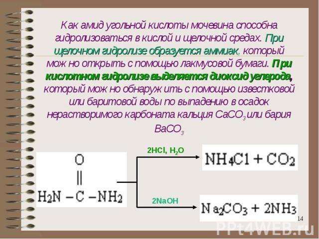 Как амид угольной кислоты мочевина способна гидролизоваться в кислой и щелочной средах. При щелочном гидролизе образуется аммиак, который можно открыть с помощью лакмусовой бумаги. При кислотном гидролизе выделяется диоксид углерода, который можно о…