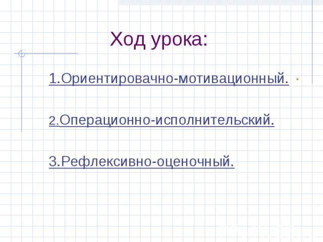 Ход урока: 1.Ориентировачно-мотивационный.2.Операционно-исполнительский.3.Рефлексивно-оценочный.