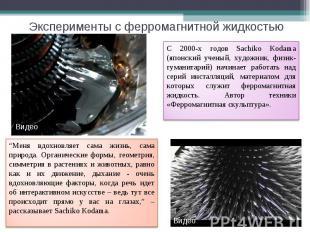 Эксперименты с ферромагнитной жидкостью С 2000-х годов Sachiko Kodama (японский