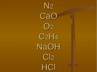 H2SO4NH3N2CaOO2C2H4NaOHCl2HClH3PO4HNO3