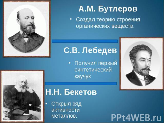 А.М. БутлеровСоздал теорию строения органических веществ.С.В. ЛебедевПолучил первый синтетический каучукН.Н. БекетовОткрыл ряд активности металлов.