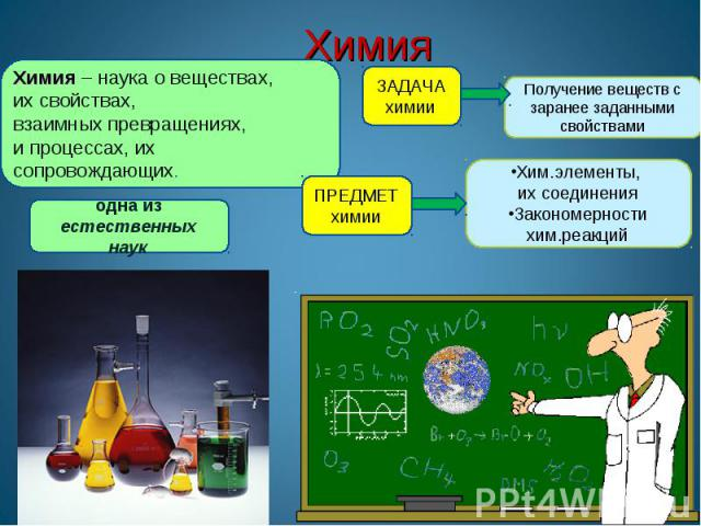 Химия Химия – наука о веществах, их свойствах,взаимных превращениях, и процессах, их сопровождающих.