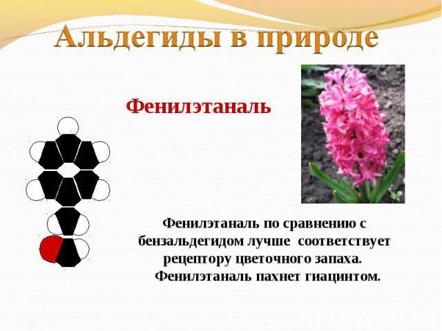 Альдегиды в природеФенилэтанальФенилэтаналь по сравнению с бензальдегидом лучше соответствует рецептору цветочного запаха. Фенилэтаналь пахнет гиацинтом.