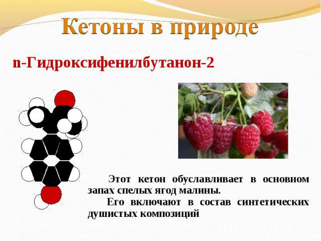 Кетоны в природеn-Гидроксифенилбутанон-2 Этот кетон обуславливает в основном запах спелых ягод малины. Его включают в состав синтетических душистых композиций