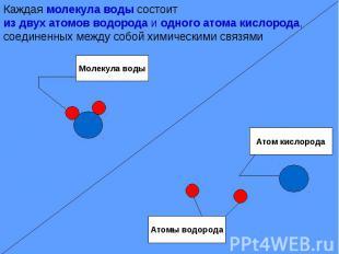 Каждая молекула воды состоитиз двух атомов водорода и одного атома кислорода, со