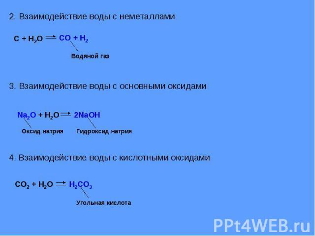 2. Взаимодействие воды с неметаллами3. Взаимодействие воды с основными оксидами4. Взаимодействие воды с кислотными оксидами