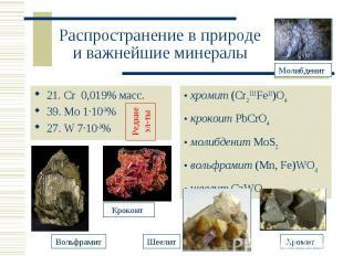Распространение в природе и важнейшие минералы
