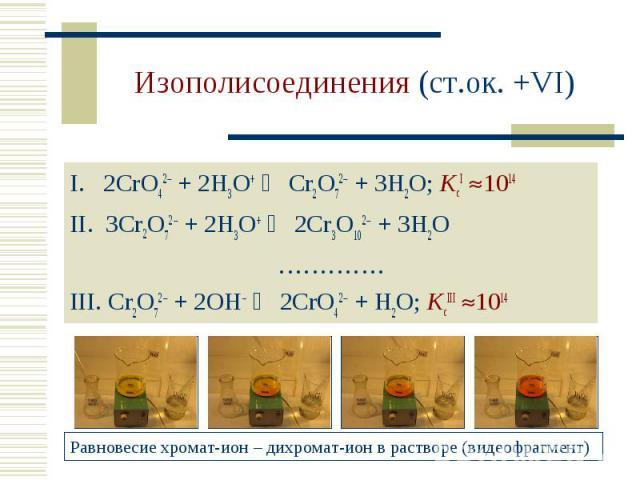 Изополисоединения (ст.ок. +VI) 2CrO42 + 2H3O+ Cr2O72 + 3H2O; KcI 1014 3Cr2O72 + 2H3O+ 2Cr3O102 + 3H2O…………. Cr2O72 + 2OH– 2CrO42 + H2O; KcIII 1014Равновесие хромат-ион – дихромат-ион в растворе (видеофрагмент)