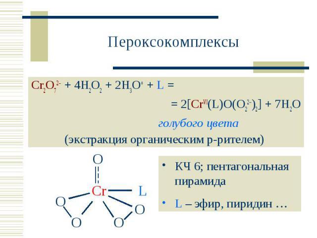 Пероксокомплексы Cr2O72 + 4H2O2 + 2H3O+ + L = = 2[CrVI(L)O(O22)2] + 7H2Oголубого цвета(экстракция органическим р-рителем) КЧ 6; пентагональная пирамидаL – эфир, пиридин …