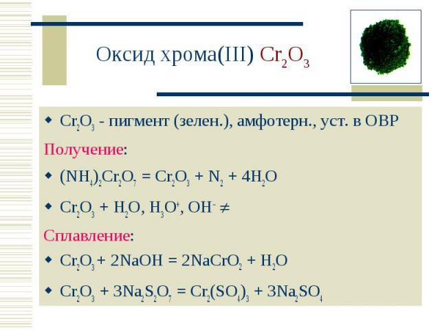 Оксид хрома(III) Cr2O3 Cr2O3 - пигмент (зелен.), амфотерн., уст. в ОВРПолучение:(NH4)2Cr2O7 = Cr2O3 + N2 + 4H2O Cr2O3 + H2O, H3O+, OH– Сплавление:Cr2O3 + 2NaOH = 2NaCrO2 + H2O Cr2O3 + 3Na2S2O7 = Cr2(SO4)3 + 3Na2SO4