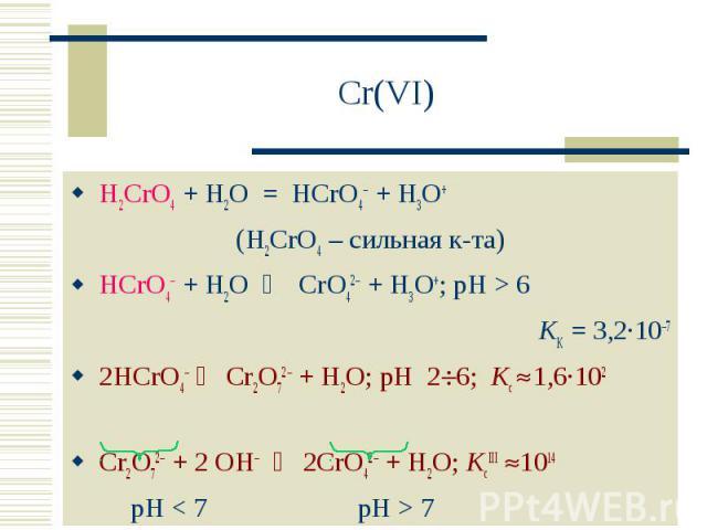 Cr(VI) H2CrO4 + H2O = HCrO4 + H3O+ (H2CrO4 – сильная к-та)HCrO4– + H2O CrO42 + H3O+; pH > 6KK = 3,2·10–72HCrO4– Cr2O72 + H2O; pH 26; Kc 1,6·102Cr2O72 + 2 OH 2CrO42 + H2O; KcIII 1014 pH < 7 pH > 7