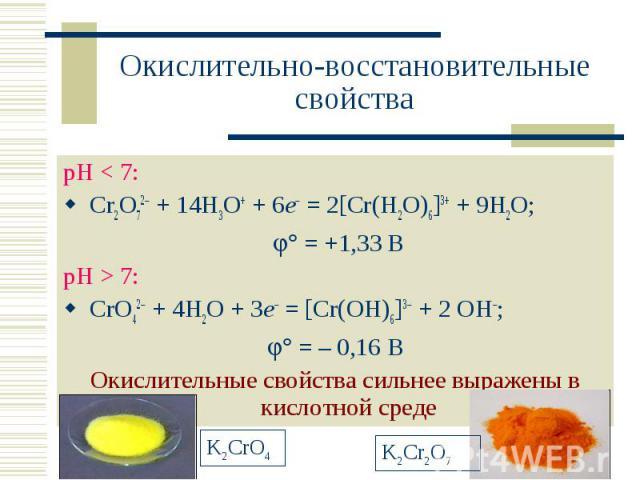 Окислительно-восстановительные свойства рН < 7: Cr2O72 + 14H3O+ + 6e = 2[Cr(H2O)6]3+ + 9H2O; = +1,33 ВрН > 7: CrO42 + 4H2O + 3e = [Cr(OH)6]3 + 2 OH; = – 0,16 ВОкислительные свойства сильнее выражены в кислотной среде