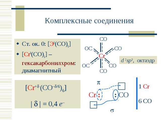 Комплексные соединения Ст. ок. 0: [Э0(CO)6][Cr0(CO)6] – гексакарбонилхром: диамагнитный