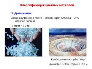 Классификация цветных металлов 3. Драгоценные Добыча алмазов: 1 место – 38 млн к