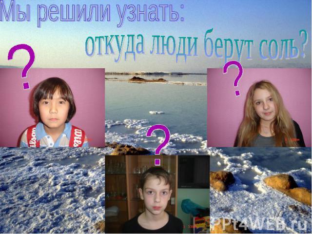 Мы решили узнать:откуда люди берут соль?