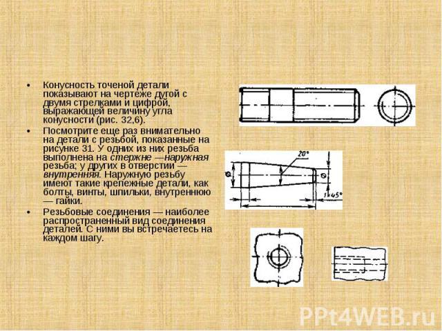 Конусность точеной детали показывают на чертеже дугой с двумя стрелками и цифрой, выражающей величину угла конусности (рис. 32,6).Посмотрите еще раз внимательно на детали с резьбой, показанные на рисунке 31. У одних из них резьба выполнена на стержн…