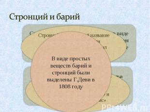 Стронций и барий В виде простых веществ барий и стронций были выделены Г.Деви в
