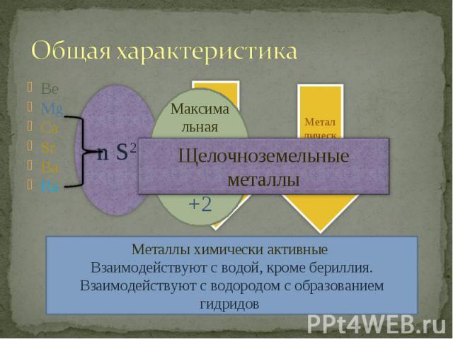 Общая характеристика Щелочноземельные металлыМеталлы химически активные Взаимодействуют с водой, кроме бериллия.Взаимодействуют с водородом с образованием гидридов