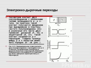 Электронно-дырочные переходы Рассмотрим контакт двух полупроводников с различным
