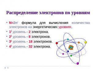 Распределение электронов по уровням N=2n2 формула для вычисления количества элек