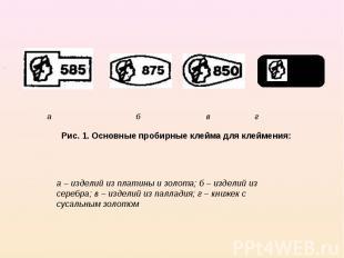 а б в г Рис. 1. Основные пробирные клейма для клеймения: а – изделий из платины