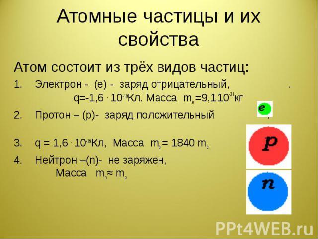 Атомные частицы и их свойства Атом состоит из трёх видов частиц:Электрон - (е) - заряд отрицательный, . q=-1,6 . 10-19Кл. Масса mе =9,1.10-31кгПротон – (р)- заряд положительный . q = 1,6 . 10-19Кл, Масса mр = 1840 mе Нейтрон –(n)- не заряжен, . Масс…