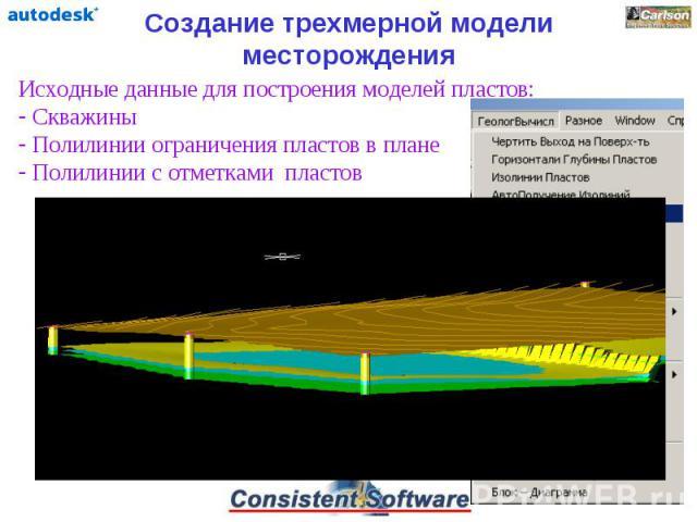 Создание трехмерной модели месторождения Исходные данные для построения моделей пластов: Скважины Полилинии ограничения пластов в плане Полилинии с отметками пластов