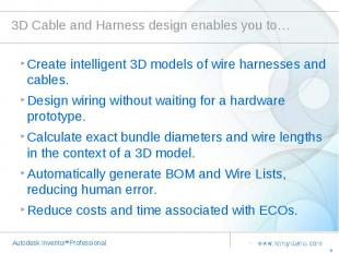 3D Cable and Harness design enables you to… Create intelligent 3D models of wire