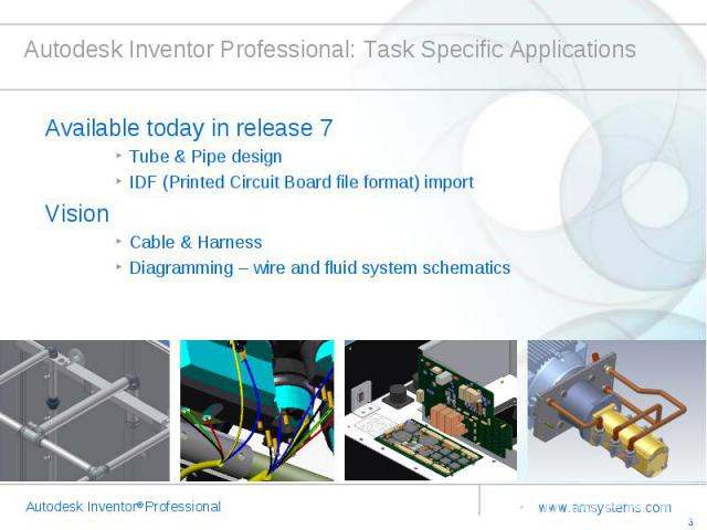 Autodesk Inventor Professional: Task Specific Applications Available today in release 7Tube & Pipe designIDF (Printed Circuit Board file format) importVisionCable & Harness Diagramming – wire and fluid system schematics