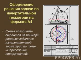 Оформление решения задачи по начертательной геометрии на формате А4 Схема алгори