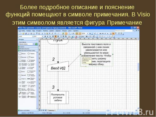 Более подробное описание и пояснение функций помещают в символе примечания. В Visio этим символом является фигура Примечание