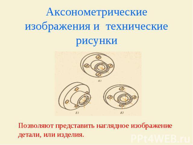 Аксонометрические изображения и технические рисунки Позволяют представить наглядное изображение детали, или изделия.