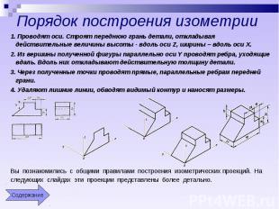 Порядок построения изометрии 1. Проводят оси. Строят переднюю грань детали, откл