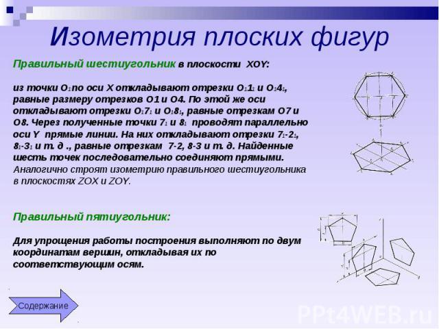 Изометрия плоских фигур Правильный шестиугольник в плоскости XOY:из точки О1 по оси X откладывают отрезки О111 и О141, равные размеру отрезков О1 и О4. По этой же оси откладывают отрезки О171 и О181, равные отрезкам О7 и О8. Через полученные точки 7…