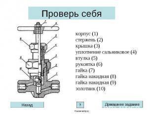 Проверь себя корпус (1)стержень (2)крышка (3)уплотнение сальниковое (4) втулка (