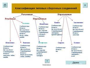 Классификация типовых сборочных соединений