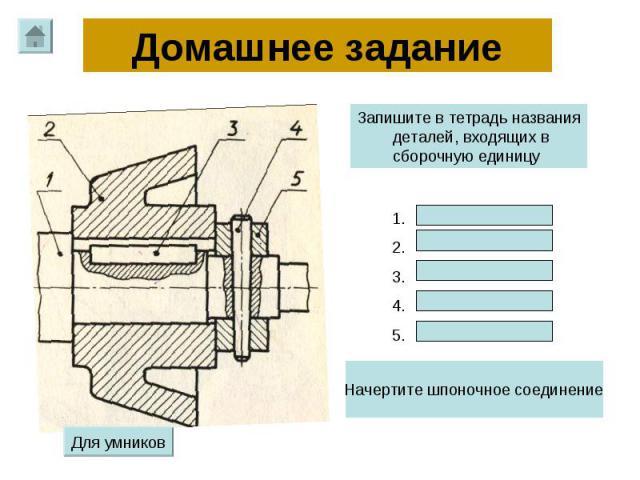 Домашнее задание Запишите в тетрадь названия деталей, входящих в сборочную единицу