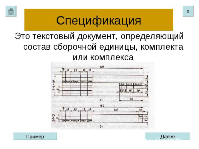 Спецификация Это текстовый документ, определяющий состав сборочной единицы, комплекта или комплекса