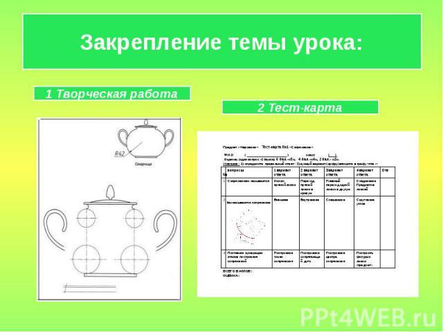 Закрепление темы урока: 1 Творческая работа2 Тест-карта