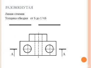 Разомкнутая Линия сеченияТолщина обводки от S до 1 ½S