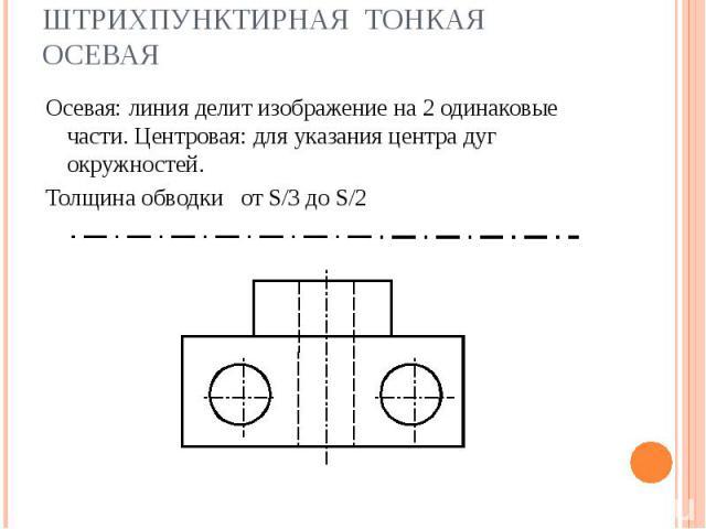 Штрихпунктирная тонкая осевая Осевая: линия делит изображение на 2 одинаковые части. Центровая: для указания центра дуг окружностей. Толщина обводки от S/3 до S/2